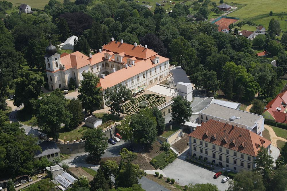 Letecká fotka zámku Loučeň